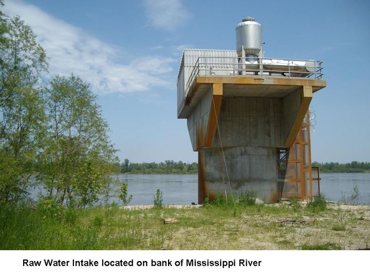 Raw Water Intake located on bank of Mississippi River
