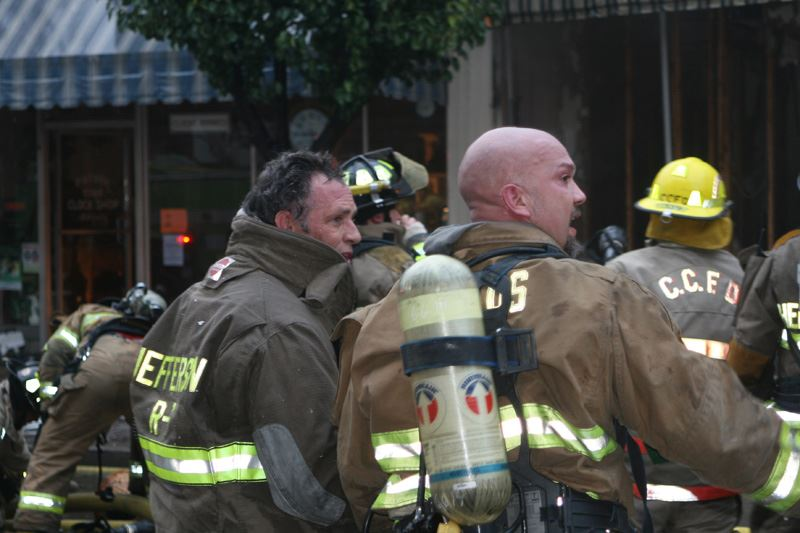 Firefighters talking